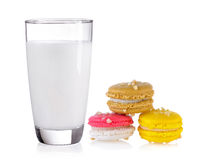 Milk and macaroons Stock Images