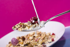 Milk meets muesli Royalty Free Stock Photo