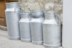 Milk. Metal containers for carrying milk Stock Photo