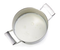 Milk in metal pot Royalty Free Stock Photo