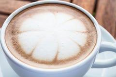 Milk microfoam topped on hot cafe mocha Royalty Free Stock Photos