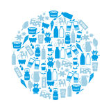 Milk and milk product theme icons in circle eps10 Stock Photography