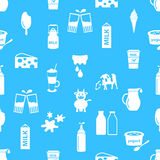 Milk and milk product theme icons seamless pattern eps10 Stock Photos