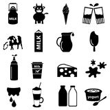 Milk and milk product theme icons set eps10 Royalty Free Stock Images