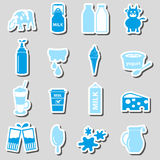 Milk and milk product theme stickers set eps10 Royalty Free Stock Photos