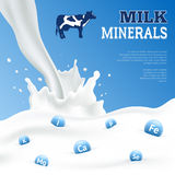 Milk Minerals Poster. Milk minerals realistic poster with cow on blue background vector illustration Royalty Free Stock Photo