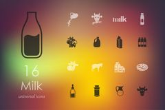 Set of milk icons. Milk modern icons for mobile interface on blurred background Stock Image
