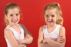 Milk moustache twins royalty free stock photo