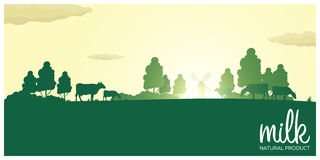 Milk natural product. Rural landscape with mill and cows. Dawn in the village. Milk natural product. Rural landscape with mill and cows. Dawn in the village royalty free illustration