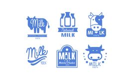 Milk natural products logos set, 100 percent fresh dairy natural food label, emblem design vector Illustration on a. Milk natural products logos set, 100 percent vector illustration