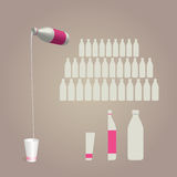 Milk in a new bottle. New design dairy bottles and glasses Royalty Free Stock Images
