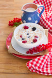 Milk and  oat flakes with berries Royalty Free Stock Photography