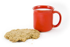 Milk and Oatmeal Cookie Royalty Free Stock Photography