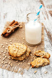 Milk and oatmeal cookies Royalty Free Stock Photography