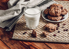Milk with Oatmeal Cookies Royalty Free Stock Image