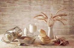 Milk and oatmeal Stock Photos