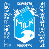 Milk pack Font set. Round white milk pack font set. Custom Healthy typeface on blue background. Vector alphabet Stock Image