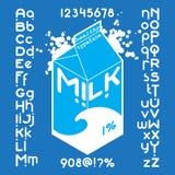 Milk pack Font set Stock Image