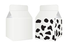Milk package with cow design. Royalty Free Stock Image