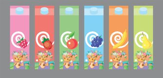 Milk package design. Package design for fruits milk. Vector illustration stock illustration