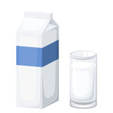 Milk package and glass of milk. Vector illustration. Royalty Free Stock Photos