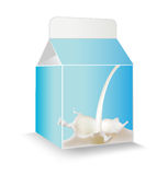 Milk package with splash design. Stock Image