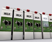 Milk packages Royalty Free Stock Photos