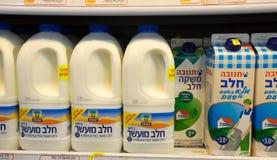 Milk packs in Israeli food supermarket Stock Image