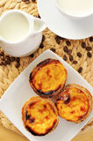 Milk and pasteis de nata, typical Portuguese egg tart pastries Royalty Free Stock Photography