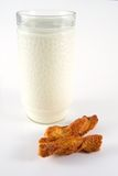 Milk and Pastry. Breakfast with cold fresh milk and pastry stock photography