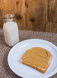 Milk and peanut butter on bread Stock Photography