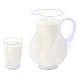 Milk. Pitcher and glass of milk isolated on white. Vector illustration Stock Photo