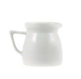 Milk pitcher white ceramic ewer isolated Stock Image