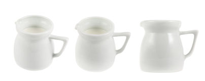 Milk pitcher white ceramic ewer isolated Royalty Free Stock Photography