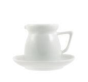 Milk pitcher white ceramic ewer isolated Royalty Free Stock Photo