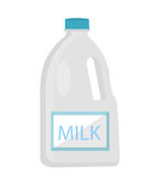 Milk in plastic bottles icon flat style. Isolated on white background. Vector illustration. Stock Images
