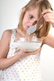 Milk porridge disgust Royalty Free Stock Photo