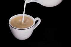Milk poured in a Cup of coffee Royalty Free Stock Photo