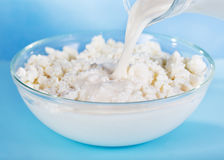 Milk pouring into bowl with cottage cheese Stock Photo