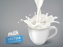 Milk pouring into a cup Royalty Free Stock Image