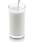 Milk pouring from a jug into a glass Royalty Free Stock Photography