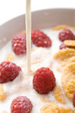 Milk pouring onto muesli with raspberry Stock Photos