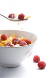 Milk pouring onto muesli with raspberry isolated Royalty Free Stock Photography