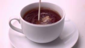 Milk pouring into tea stock video