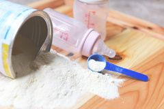 Milk powder can with spoon and baby bottle milk on wooden table stock photos