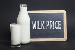 Milk Price on a blackboard Royalty Free Stock Photo