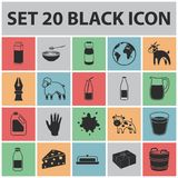 Milk product black icons in set collection for design.Milk and food vector symbol stock web illustration. Stock Images