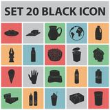 Milk product black icons in set collection for design.Milk and food vector symbol stock web illustration. Royalty Free Stock Photo