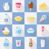 Milk product flat icon set Stock Photo
