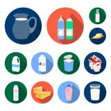 Milk product flat icons in set collection for design.Milk and food vector symbol stock web illustration. Stock Photo